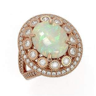 5.28 ctw Certified Opal & Diamond Victorian Ring 14K
