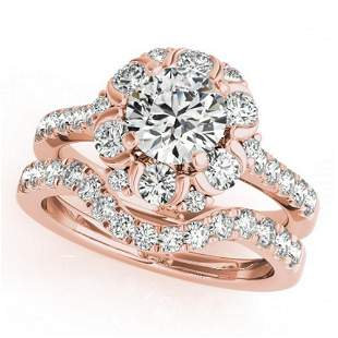 1.97 ctw Certified VS/SI Diamond 2pc Wedding Set Halo