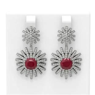 6.8 ctw Ruby & Diamond Earrings 18K White Gold -