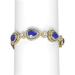 32.24 ctw Sapphire & Diamond Bracelet 18K Yellow Gold -