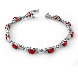 7.11 ctw Ruby & Diamond Bracelet 14k White Gold -