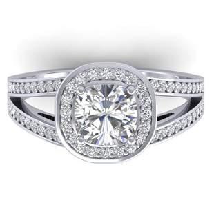 1.5 ctw Cushion Certified VS/SI Diamond Art Deco Ring