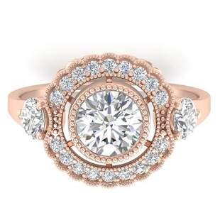 1.9 ctw Certified VS/SI Diamond Art Deco 3 Stone Ring