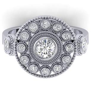 0.85 ctw VS/SI Diamond Art Deco 3 Stone Ring 14k White