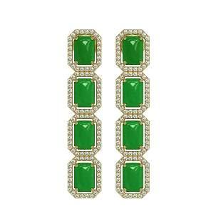 11.93 ctw Jade & Diamond Micro Pave Halo Earrings 10k