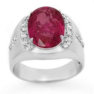 7.33 ctw Pink Sapphire & Diamond Men's Ring 10k White