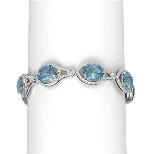 45.15 ctw Blue Topaz & Diamond Bracelet 18K White Gold