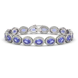 21.35 ctw Tanzanite & Diamond Micro Pave Halo Bracelet