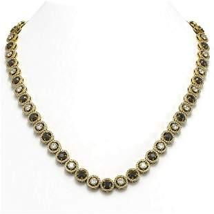 23.95 ctw Black & Diamond Micro Pave Necklace 18K