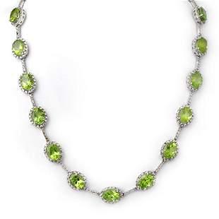 45.0 ctw Peridot & Diamond Necklace 10k White Gold -