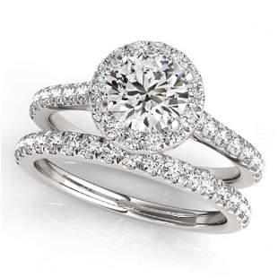 1.42 ctw Certified VS/SI Diamond 2pc Wedding Set Halo