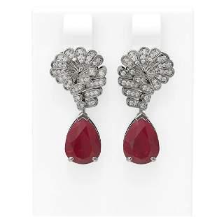 7.73 ctw Ruby & Diamond Earrings 18K White Gold -