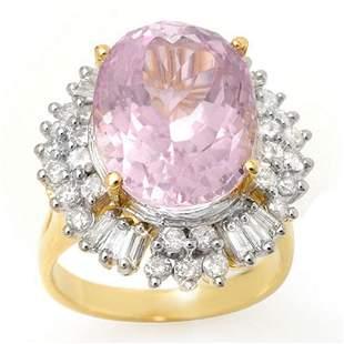 15.75 ctw Kunzite & Diamond Ring 14k Yellow Gold -
