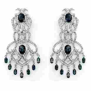 17.60 ctw Blue Sapphire & Diamond Earrings 18k White