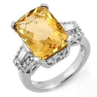 9.55 ctw Citrine & Diamond Ring 14k White Gold -