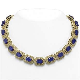 137.65 ctw Sapphire & Diamond Victorian Necklace 14K