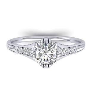 1.25 ctw Certified VS/SI Diamond Art Deco Ring 14k