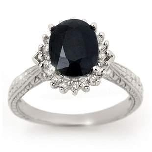 2.75 ctw Blue Sapphire & Diamond Ring 18k White Gold -