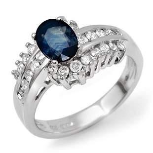 1.75 ctw Blue Sapphire & Diamond Ring 18k White Gold -