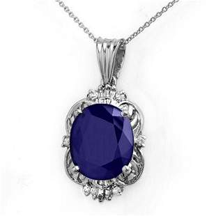 8.59 ctw Blue Sapphire & Diamond Pendant 18k White Gold