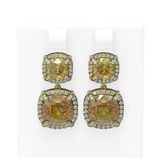 16.23 ctw Citrine & Diamond Earrings 18K Yellow Gold -