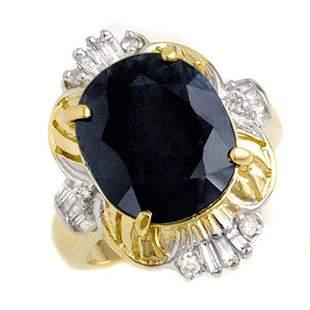 8.07 ctw Blue Sapphire & Diamond Ring 10k Yellow Gold -