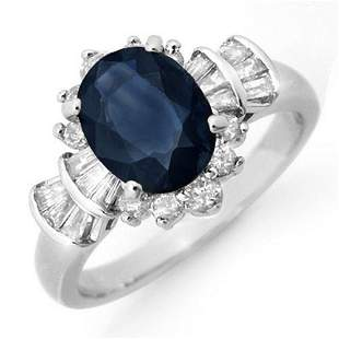 2.13 ctw Blue Sapphire & Diamond Ring 18k White Gold -
