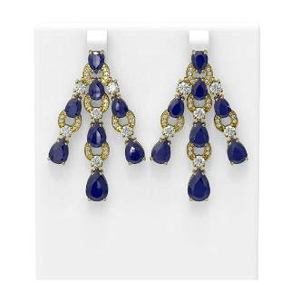 27.46 ctw Sapphire & Diamond Earrings 18K Yellow Gold -