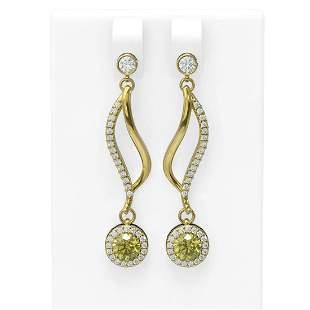 1.86 ctw Fancy Yellow Diamond Earrings 18K Yellow Gold