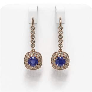5.1 ctw Certified Sapphire & Diamond Victorian Earrings