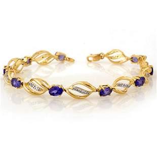 5.60 ctw Tanzanite & Diamond Bracelet 10k Yellow Gold -