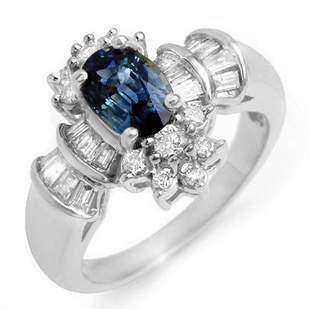 2.25 ctw Blue Sapphire & Diamond Ring 18k White Gold -