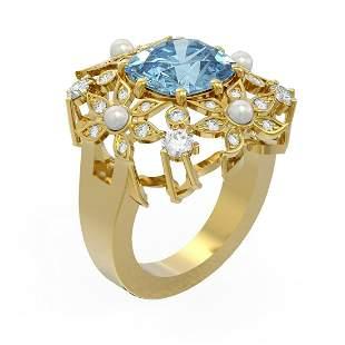 4.96 ctw Aquamarine & Diamond Ring 18K Yellow Gold -