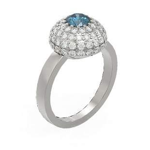 2 ctw Intense Blue Diamond Ring 18K White Gold -