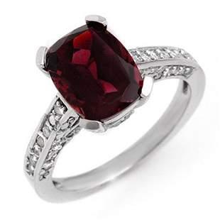 3.50 ctw Pink Tourmaline & Diamond Ring 10k White Gold