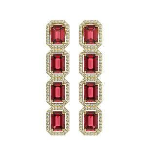 12.41 ctw Tourmaline & Diamond Micro Pave Halo Earrings