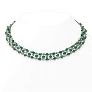 63.65 ctw Emerald & Diamond Necklace 10K White Gold -