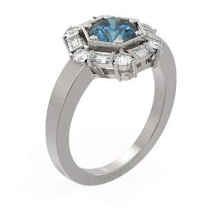 2.18 ctw Intense Blue Diamond Ring 18K White Gold -