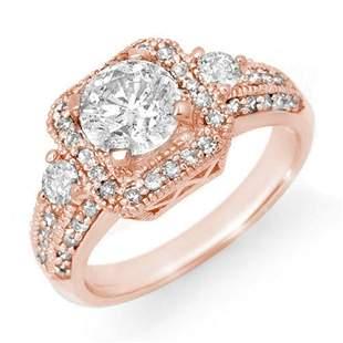 2.0 ctw Certified VS/SI Diamond Ring 14k Rose Gold -