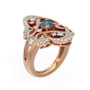 2.02 ctw Intense Blue Diamond Ring 18K Rose Gold -
