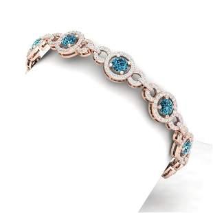 9 ctw SI/I Intense Blue Diamond Bracelet 18K Rose Gold