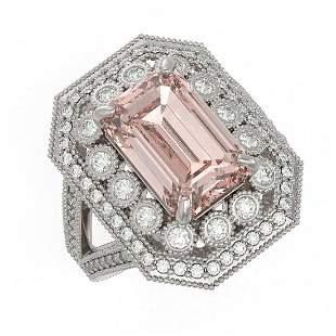 6.08 ctw Certified Morganite & Diamond Victorian Ring