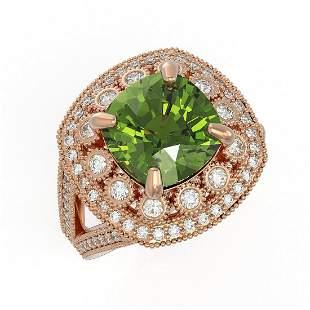 7.07 ctw Certified Tourmaline & Diamond Victorian Ring