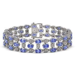 14.8 ctw Tanzanite & Diamond Row Bracelet 10K White