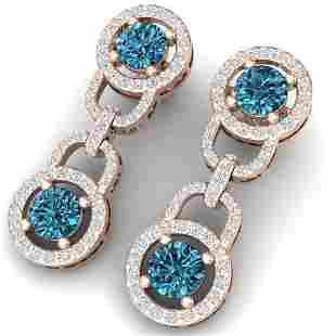 4 ctw SI/I Intense Blue Diamond Earrings 18K Rose Gold