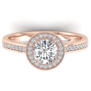 1.1 ctw Certified VS/SI Diamond Micro Halo Ring 14k