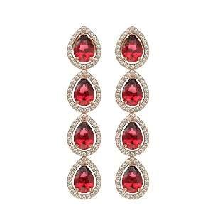 7.88 ctw Tourmaline & Diamond Micro Pave Halo Earrings