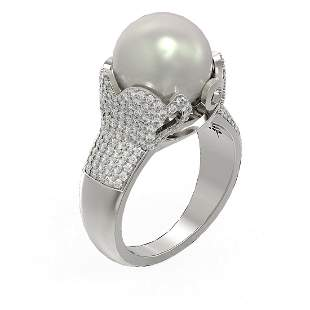 1.55 ctw Diamond & Pearl Ring 18K White Gold -