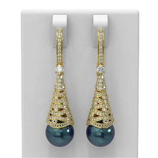 1.84 ctw Diamond & Pearl Earrings 18K Yellow Gold -