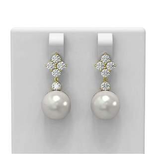 1.2 ctw Diamond & Pearl Earrings 18K Yellow Gold -